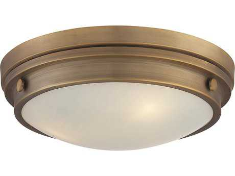 Savoy House Lucerne Warm Brass Three-Light 15'' Wide Flush Mount Ceiling Light with White Glass SV6335016322