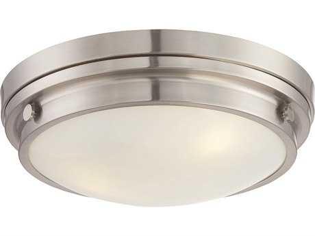 Savoy House Lucerne Satin Nickel Three-Light 15'' Wide Flush Mount Ceiling Light with White Glass SV6335016SN