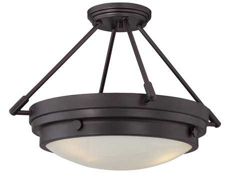 Savoy House Lucerne English Bronze Three-Light 18.5'' Wide Semi-Flush Mount Ceiling Light with White Glass
