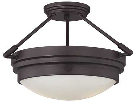Savoy House Lucerne English Bronze Two-Light 16.5'' Wide Semi-Flush Mount Ceiling Light with White Glass
