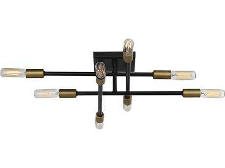Savoy House Lyrique Bronze / Brass Accents Eight-Light 19.5'' Wide Semi-Flush Mount Ceiling Light SV67003877