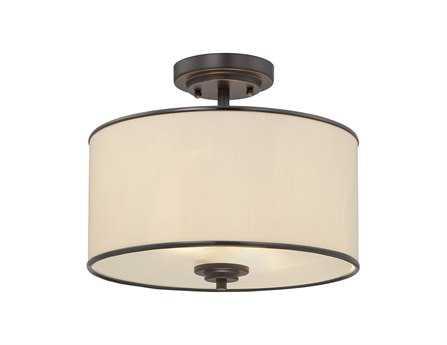 Savoy House Main Street Grove English Bronze Cream Fabric Two-Light Semi-Flush Mount Light SV61501213