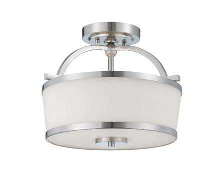 Savoy House Main Street Hagen Satin Nickel Two-Light Semi-Flush Mount Light SV643822SN