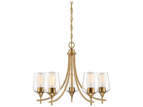 Savoy House Octave Warm Brass 5-light 23'' Wide Glass Mini Chandelier