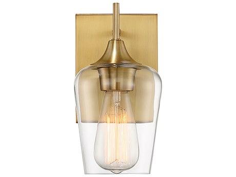 Savoy House Octave Warm Brass 1-light Glass Vanity Light