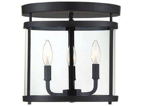 Savoy House Penrose Black 3-light 12'' Wide Glass Semi-Flush Mount