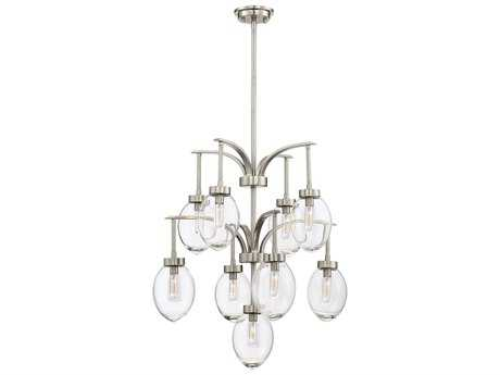 Savoy House Ravenia Satin Nickel Nine-Light 26'' Wide Chandelier with Clear Glass SV15419SN