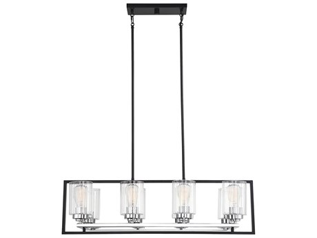 Savoy House Redmond Matte Black With Polished Chrome Accents 36'' Wide Glass Island Light