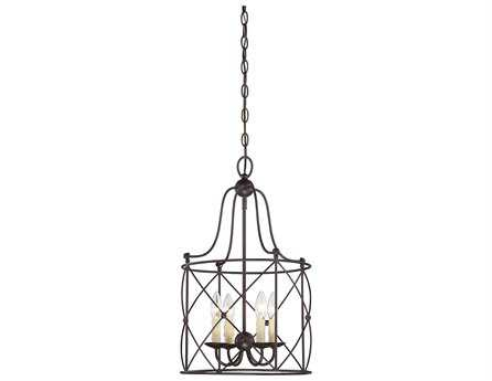 Savoy House Restoration Seneca English Bronze Four-Light Foyer Pendant SV34070413