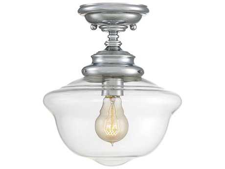 Savoy House School House Polished Chrome 10'' Wide Semi-Flush Mount Ceiling Light with Clear Glass