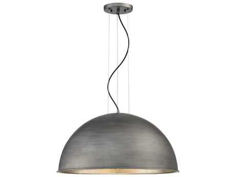 Savoy House Sommerton Rubbed Zinc & Silver Leaf Three-Light 24'' Wide Pendant Ceiling Light