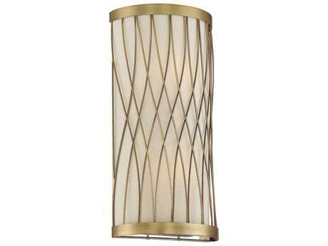 Savoy House Spinnaker Warm Brass Two-Light Wall Sconce with Pale Cream Shade