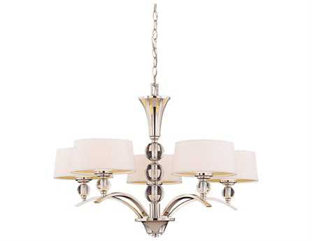 Savoy House Today's Classic Style Murren Polished Nickel White Five-Light 30'' Wide Chandelier SV110355109