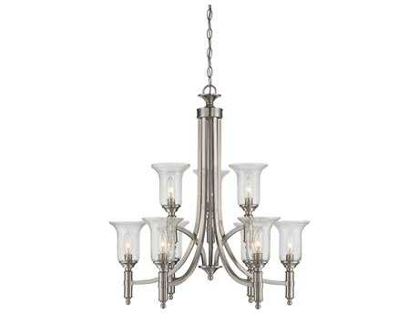 Savoy House Trudy Satin Nickel Nine-Light 27.5'' Wide Chandelier with Clear Seeded Glass