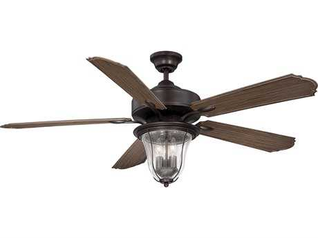 Savoy House Trudy English Bronze Three-Light Indoor Ceiling Fan with Clear Bubble Glass SV521355WA13