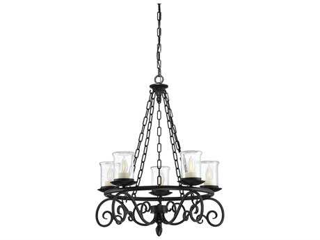 Savoy House Welch Black Five-Light 26.5'' Wide Outdoor Pendant Light with Clear Seeded Glass and Cream Candle Cover SV111215BK