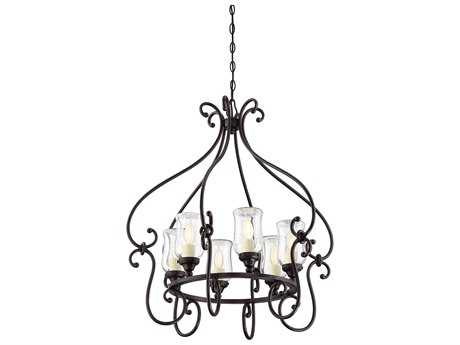 Savoy House Weston English Bronze Six-Light 28'' Wide Outdoor Pendant Light with Clear Glass and Cream Candle Cover SV11110613