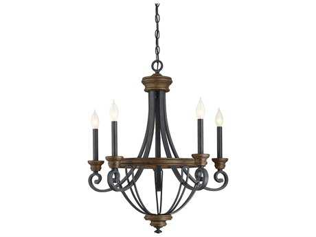 Savoy House Wickham Whiskey Wood Five-Light 25'' Wide Chandelier with Metal Candle Cover SV12050568