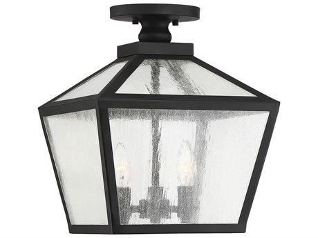 Savoy House Woodstock Black Glass Outdoor Ceiling Light SV5105BK