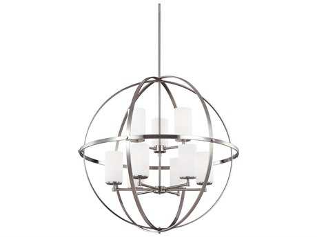 Sea Gull Lighting Alturas Brushed Nickel Nine-Light 32.63'' Wide Chandelier with Etched / White Inside Glass