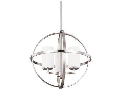 Sea Gull Lighting Alturas Brushed Nickel Three-Light 18.75'' Wide Mini Chandelier with Etched / White Inside Glass SGL3124603962