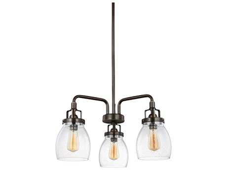Sea Gull Lighting Belton Heirloom Bronze Three-Light 10.5'' Wide Mini Chandelier with Clear Seeded Glass SGL3114503782