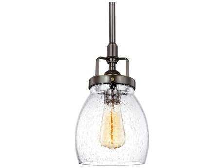 Sea Gull Lighting Belton Clear Seeded Glass Heirloom Bronze 5'' Wide Mini Pendant Ceiling Light  SGL6114501782