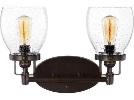 Sea Gull Lighting Belton Heirloom Bronze Two-Light 15'' Wide Vanity Light with Clear Seeded Glass SGL4414502782