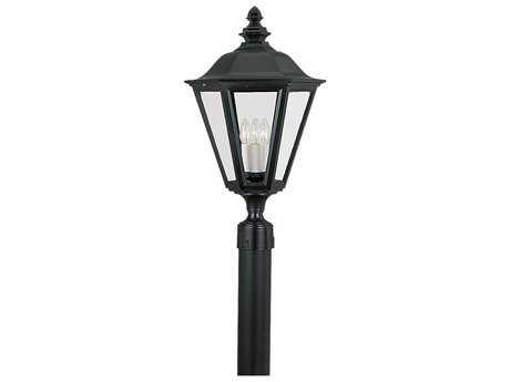 Sea Gull Lighting Brentwood Black Three-Light Outdoor Post SGL823112
