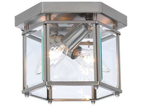 Sea Gull Lighting Bretton Brushed Nickel Two-Light 8'' Wide Outdoor Ceiling Light SGL7647962