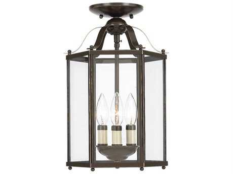 Sea Gull Lighting Bretton Heirloom Bronze Three-Light 9.5'' Wide Convertible Foyer Semi-Flush Mount Light SGL5231782