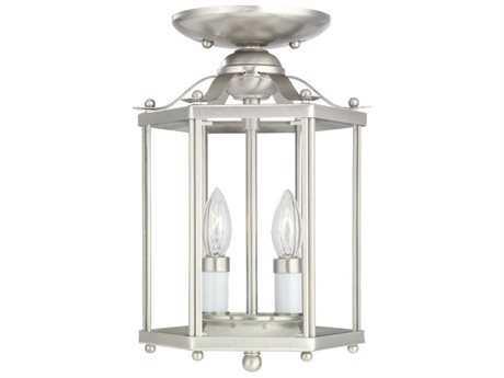 Sea Gull Lighting Bretton Brushed Nickel Two-Light 7.25'' Wide Convertible Foyer Semi-Flush Mount Light SGL5232962
