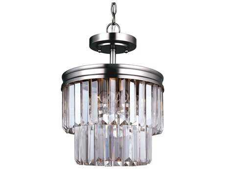 Sea Gull Lighting Carondelet Antique Brushed Nickel Two-Light 10.63'' Wide Convertible Pendant  & Semi-Flush Mount Light SGL7714002965