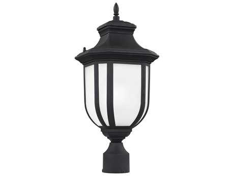 Sea Gull Lighting Childress Black 20.5'' Wide Outdoor Post Light with Satin Etched Glass SGL823630112