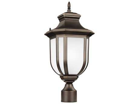 Sea Gull Lighting Childress Antique Bronze 20.5'' Wide Outdoor Post Light with Satin Etched Glass SGL823630171