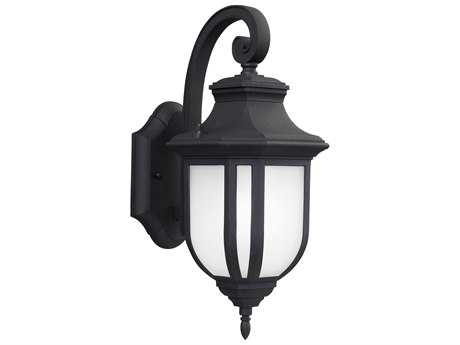 Sea Gull Lighting Childress Black 14.63'' Wide Outdoor Wall Sconce with Satin Etched Glass SGL863630112