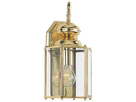 Sea Gull Lighting Classico Polished Brass 1 Glass LED Outdoor Wall Light