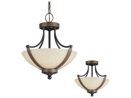 Sea Gull Lighting Corbeille Stardust & Cerused Oak Two-Light 15.25'' Wide Convertible Semi-Flush Mount Light SGL7780402846