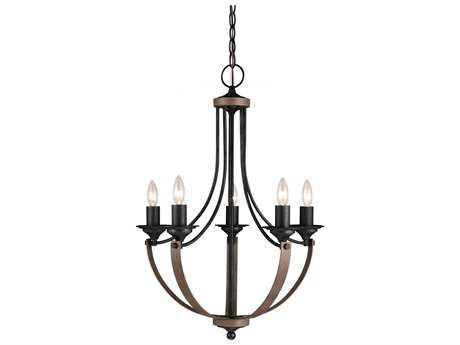 Sea Gull Lighting Corbeille Stardust & Cerused Oak Five-Light 21.5'' Wide Chandelier SGL3280405846