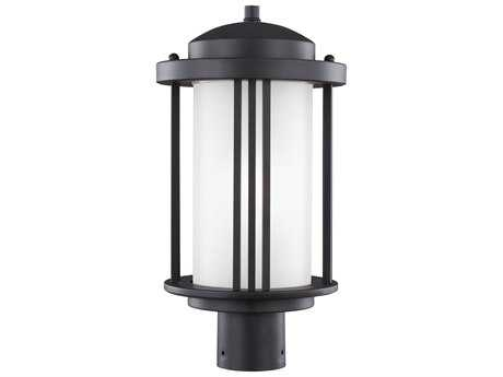 Sea Gull Lighting Crowell Black 17'' Wide Outdoor Post Light with Satin Etched Glass SGL824790112
