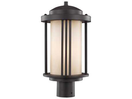 Sea Gull Lighting Crowell Antique Bronze 17'' Wide Outdoor Post Light with Creme Parchment Glass SGL824790171