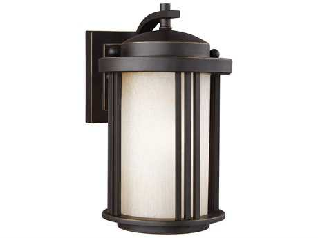 Sea Gull Lighting Crowell Antique Bronze 10'' Wide Outdoor Wall Sconce with Creme Parchment Glass