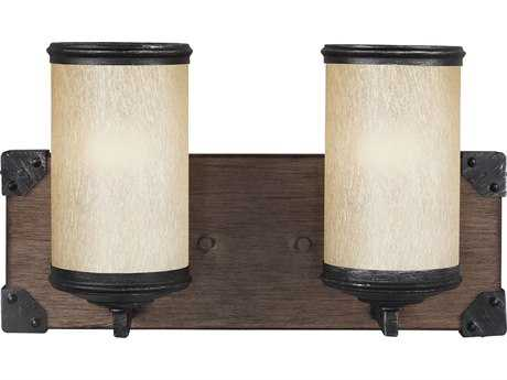Sea Gull Lighting Dunning Stardust & Cerused Oak Two-Light Wall Sconce SGL4413302846