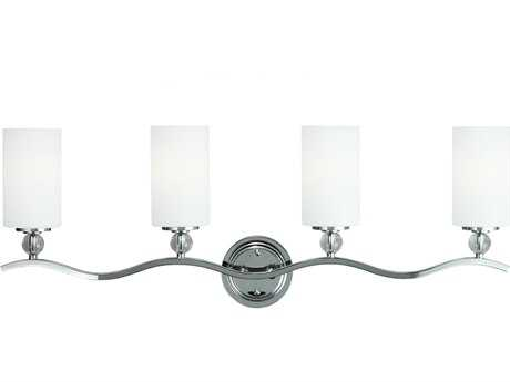 Sea Gull Lighting Englehorn Chrome & Optic Crystal Four-Light Vanity Light