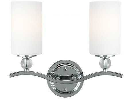 Sea Gull Lighting Englehorn Chrome & Optic Crystal Two-Light Wall Sconce SGL441340205