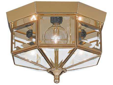 Sea Gull Lighting Grandover Polished Brass Three-Light 9'' Wide Flush Mount Light SGL766102