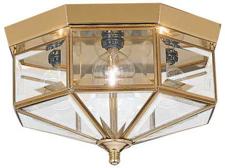 Sea Gull Lighting Grandover Polished Brass Four-Light 11'' Wide Flush Mount Light SGL766202
