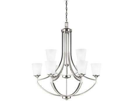 Sea Gull Lighting Hanford Brushed Nickel Nine-Light 37'' Wide Chandelier with Satin Etched Glass