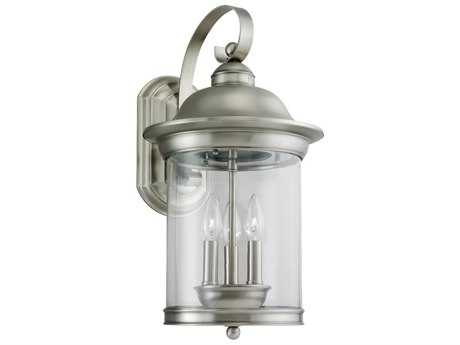 Sea Gull Lighting Hermitage Antique Brushed Nickel Three-Light Outdoor Wall Light