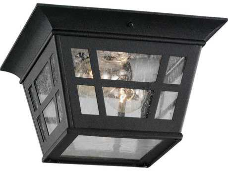 Sea Gull Lighting Herrington Black Two-Light Outdoor Flush Mount Light SGL7813112
